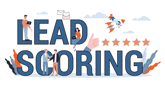 Koncepcja transparent punktacji leadów. idea oceny klienta lidera. strategia marketingowa. ilustracja