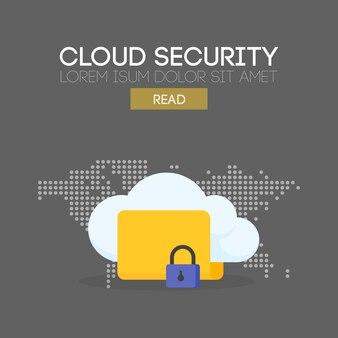 Koncepcja transparentu bezpieczeństwa w chmurze. tło mapy. ilustracja wektorowa