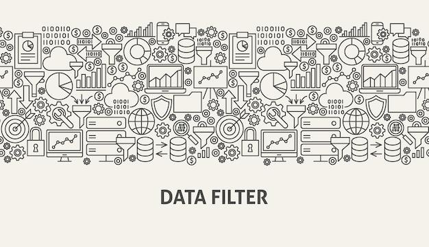Koncepcja transparentu filtru danych. ilustracja wektorowa linii web design.