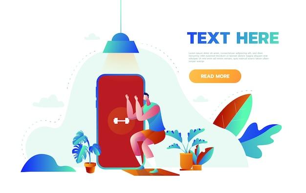 Koncepcja transparentu kursu online fitness. mężczyzna robi fitness w domu na zajęciach online przy użyciu aplikacji na smartfony