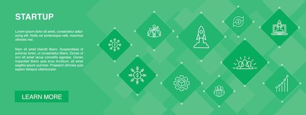 Koncepcja transparentu startowego 10 ikon. finansowanie społecznościowe, uruchamianie biznesu, motywacja, proste ikony rozwoju produktu
