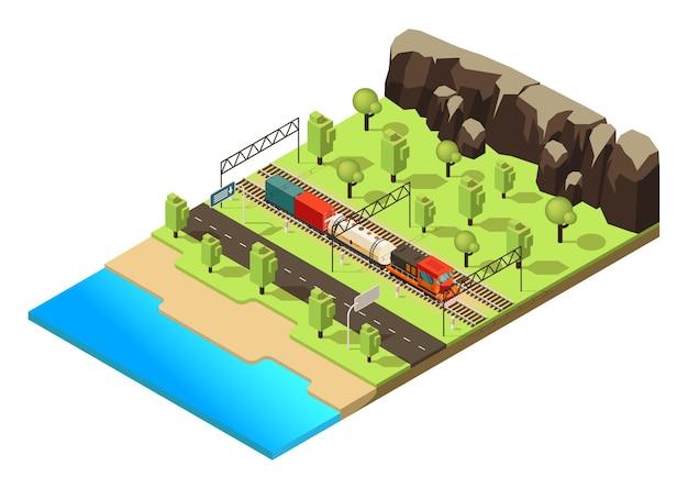 Koncepcja transportu kolejowego izometrycznego z pociągiem towarowym lub lokomotywą poruszającą się po lesie na białym tle