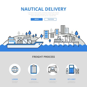 Koncepcja transportu morskiego dostawy wody w stylu płaskiej linii. wydrukowane materiały