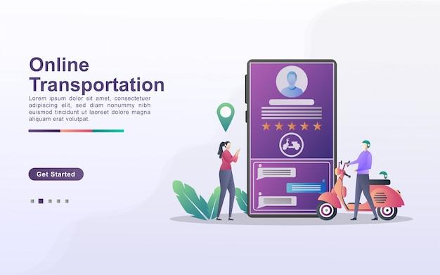 Koncepcja transportu online. ludzie zamawiają transport za pośrednictwem aplikacji mobilnej. zamów jedzenie przez internet. usługi transportu miejskiego.