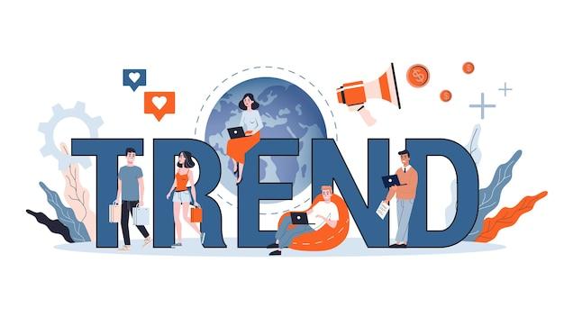 Koncepcja trendu. biznesmeni gonią za trendami. baner internetowy, prezentacja, pomysł na konto w mediach społecznościowych. ilustracja