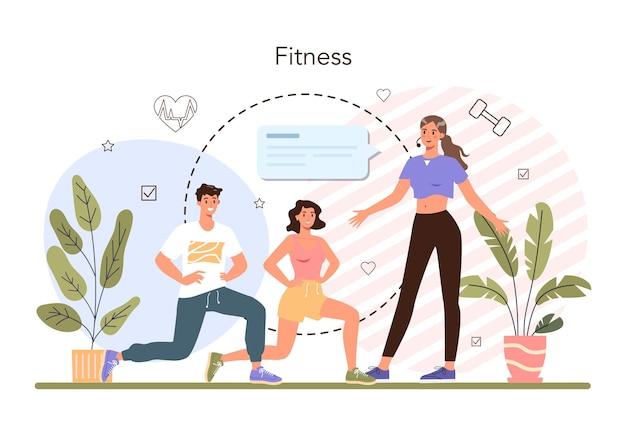 Koncepcja trenera fitness. trening na siłowni z profesjonalnym sportowcem