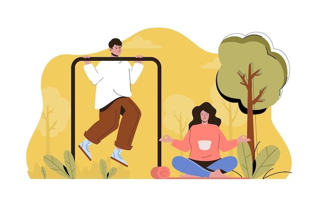 Koncepcja treningu na świeżym powietrzu mężczyzna ćwiczy na poziomym pasku kobieta medytuje