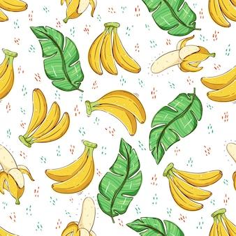 Koncepcja tropikalnego lata z liśćmi bananowca i owocami w jednolity wzór