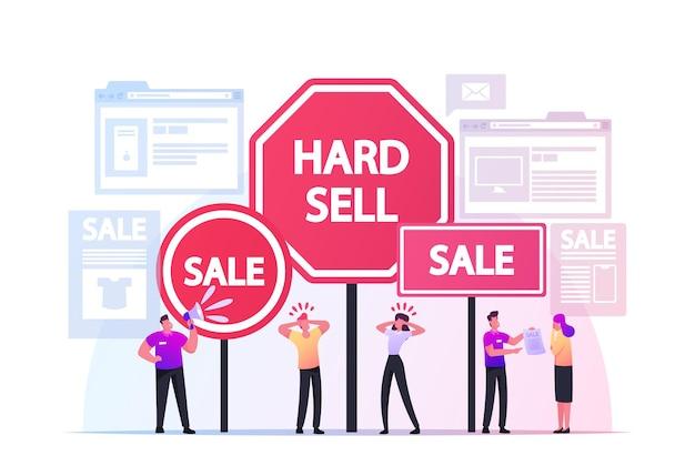 Koncepcja twardej sprzedaży. postacie promotora stosują zasady lub techniki agresywnej sprzedaży i reklamy nakłaniającej klientów do kupowania towarów w sklepach i internecie. ilustracja wektorowa kreskówka ludzie