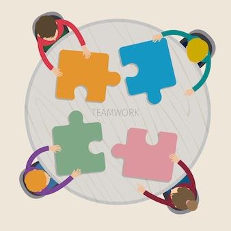 Koncepcja twórczej pracy zespołowej. spotkanie biznesowe i burza mózgów.