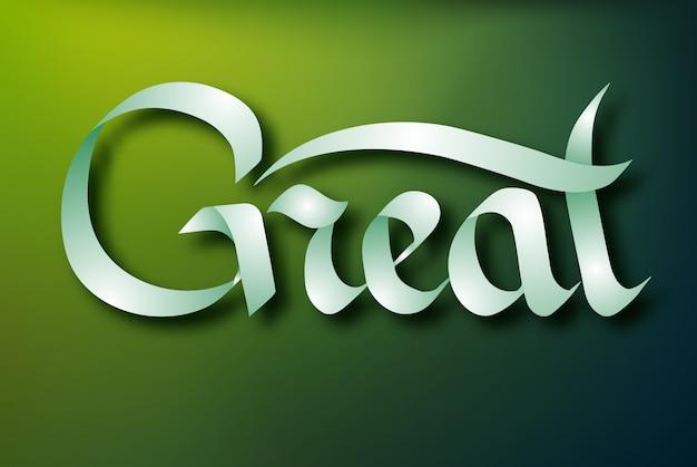 Koncepcja typograficzne napis z kaligraficzne odręczne eleganckie wstążki