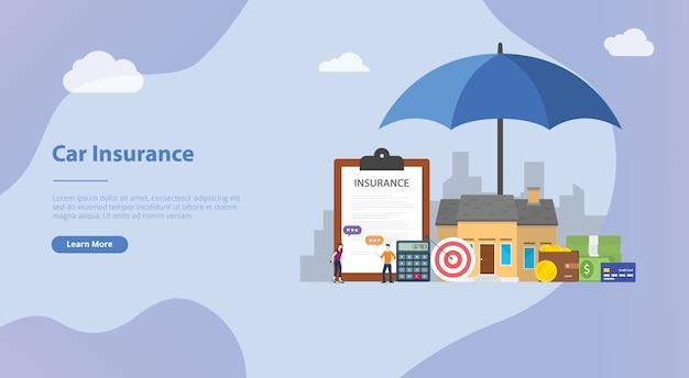 Koncepcja ubezpieczenia domu dla szablonu strony internetowej lub strony startowej