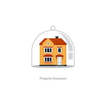 Koncepcja ubezpieczenia domu, ochrona domu, ochrona nieruchomości, ikona bezpieczeństwa mienia, bezpieczne życie