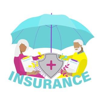 Koncepcja ubezpieczenia medycznego i zdrowotnego starsze pary z polisą ubezpieczeniową i parasolem ochronnym