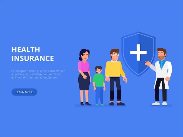 Koncepcja ubezpieczenia medycznego, zdrowotnego i na życie. agent ubezpieczeniowy z tarczą ochronną i uśmiechniętą rodziną z dzieckiem. płaska ilustracja.