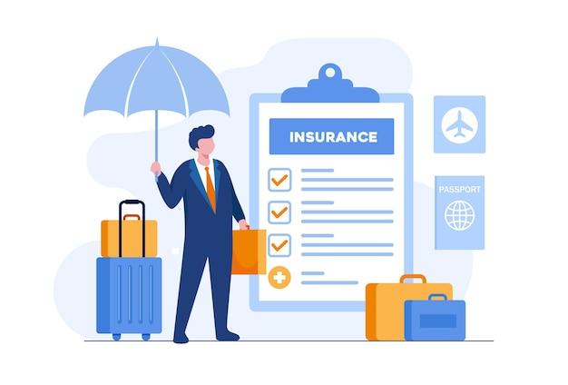 Koncepcja ubezpieczenia podróży. człowiek z torbą i parasolem reprezentującym ochronę płaski wektor ilustracja transparent i strona docelowa