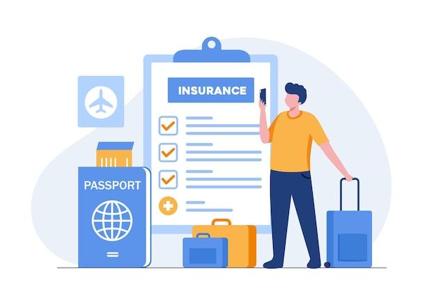 Koncepcja ubezpieczenia podróży. człowiek z torbą i paszportem płaski wektor ilustracja transparent i strona docelowa