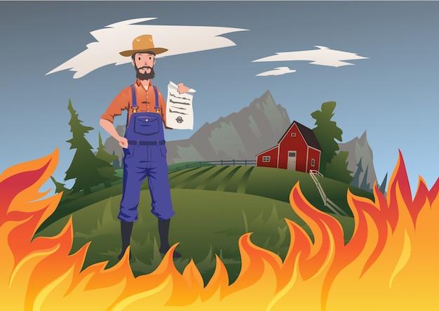 Koncepcja ubezpieczenia rolnika, ilustracja. ogień na farmie. spokojny rolnik stojący i trzymający w ręku polisę ubezpieczeniową. ubezpieczenie domu i gospodarstwa domowego od ognia.