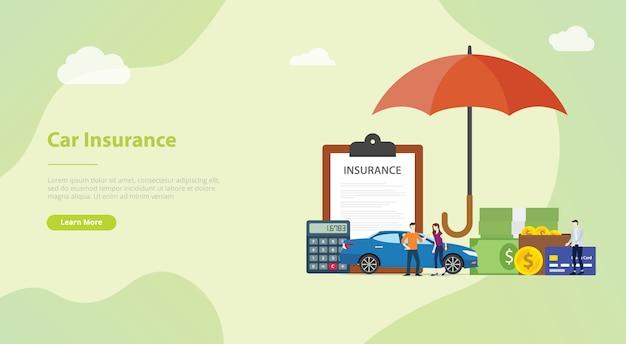 Koncepcja ubezpieczenia samochodu dla szablonu strony internetowej lub strony startowej