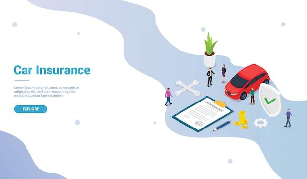 Koncepcja ubezpieczenia samochodu z papierem samochodowym i kontraktowym z ludźmi z zespołu na stronie internetowej lub stronie startowej i nowoczesnym stylu izometrycznym