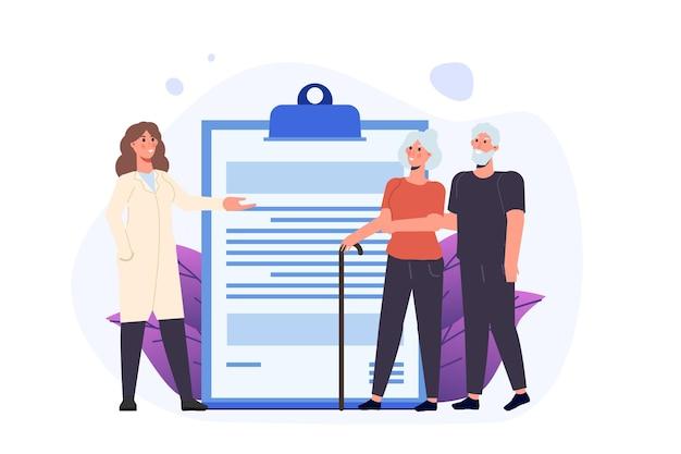 Koncepcja ubezpieczenia zdrowotnego osób starszych. ilustracja wektorowa w stylu płaski.
