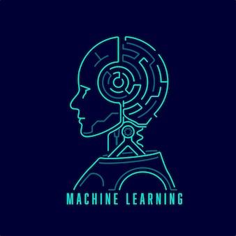 Koncepcja uczenia maszynowego lub głębokiego uczenia, grafika sztucznej inteligencji z mózgiem labiryntu
