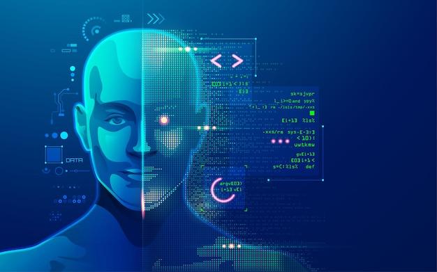 Koncepcja uczenia maszynowego lub innowacyjnej technologii, grafika głowicy ai ze skryptem programistycznym