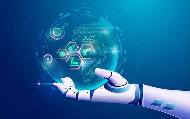 Koncepcja uczenia maszynowego lub internetu rzeczy - iot, grafika dłoni sztucznej inteligencji trzymającej futurystyczny glob