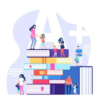 Koncepcja uczenia się dzieci. znakomici uczniowie, chwalący rodziców i nauczycieli z wielkimi książkami. ilustracja wektorowa edukacji szkolnej dzieci
