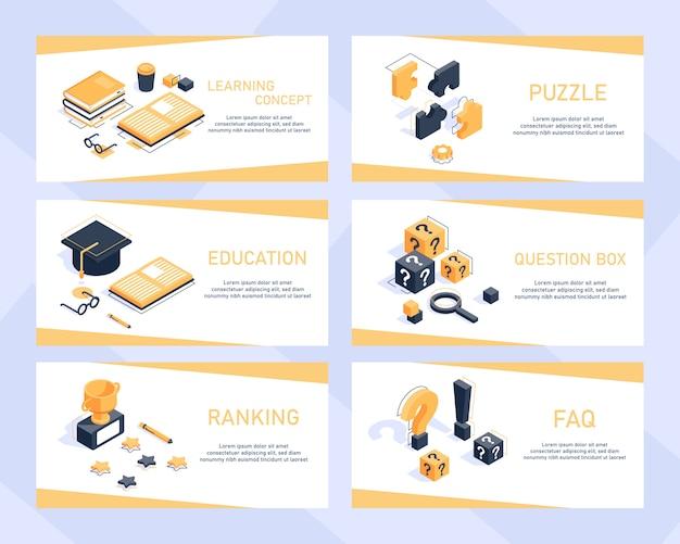 Koncepcja uczenia się, izometryczny koncepcja edukacji nowoczesny projekt płaski