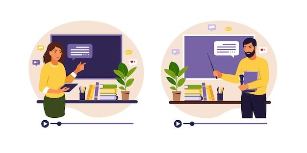Koncepcja uczenia się online. nauczyciele mężczyzna i kobieta na tablicy, lekcja wideo.