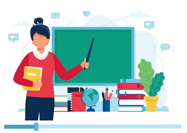Koncepcja uczenia się online. nauczycielka z książkami i tablicą, lekcja wideo.