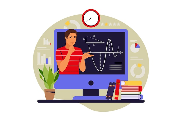 Koncepcja uczenia się online. studia na odległość. ilustracja wektorowa. płaski styl.