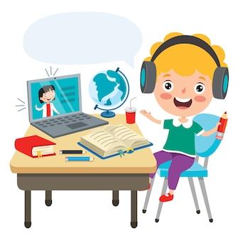 Koncepcja uczenia się online z postacią z kreskówki