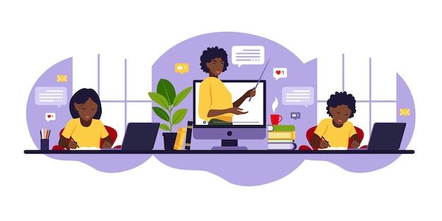 Koncepcja uczenia się online. zajęcia online. afrykański nauczyciel na tablicy, lekcja wideo. nauka na odległość w szkole. płaski styl.