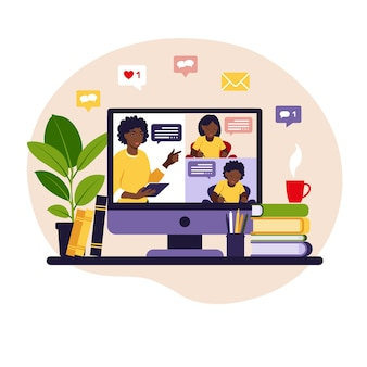 Koncepcja uczenia się online. zajęcia online. nauczyciel na tablicy, lekcja wideo.