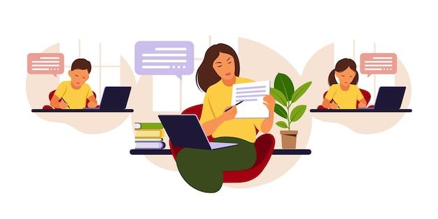 Koncepcja uczenia się online. zajęcia online. nauczycielka na tablicy, lekcja wideo. nauka na odległość w szkole. ilustracja płaski styl.