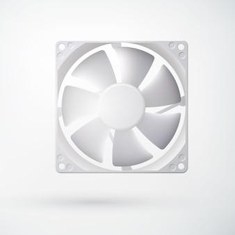 Koncepcja układu chłodzenia światła z wentylatorem komputerowym w realistycznym stylu na białym tle