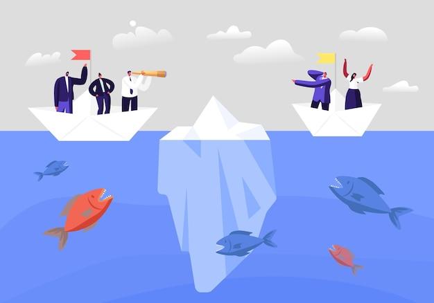 Koncepcja ukrytego zagrożenia. biznesowe postacie na papierowej łodzi, próbując uciec przed atakiem ogromnych ryb i góry lodowej na morzu. ludzie biznesu unikają kryzysów, bankructwa. niebezpieczne ryzyko. ilustracja kreskówka wektor