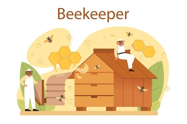 Koncepcja ula lub pszczelarza. profesjonalny rolnik z ulem i miodem. wiejski produkt ekologiczny. pasiekarz, pszczelarstwo i produkcja miodu. ilustracji wektorowych