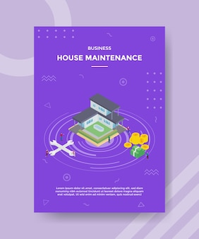 Koncepcja ulepszenia lub konserwacji domu dla banera szablonu i ulotki w stylu izometrycznym