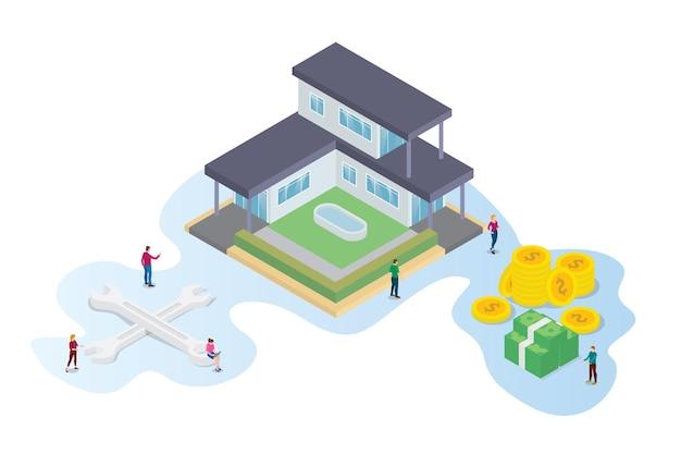 Koncepcja ulepszenia lub renowacji domu w nowoczesnym stylu izometrycznym