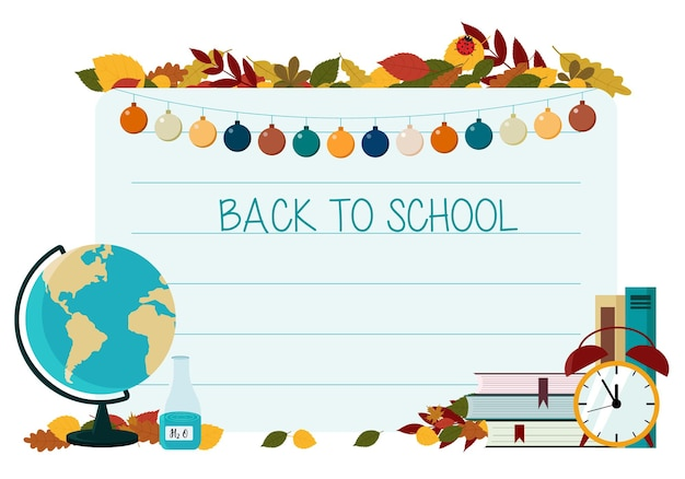 Koncepcja ulotek na temat powrotu do szkoły. papier biurowy na tle zeszytu