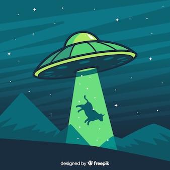 Koncepcja uprowadzenia ufo z płaską konstrukcją