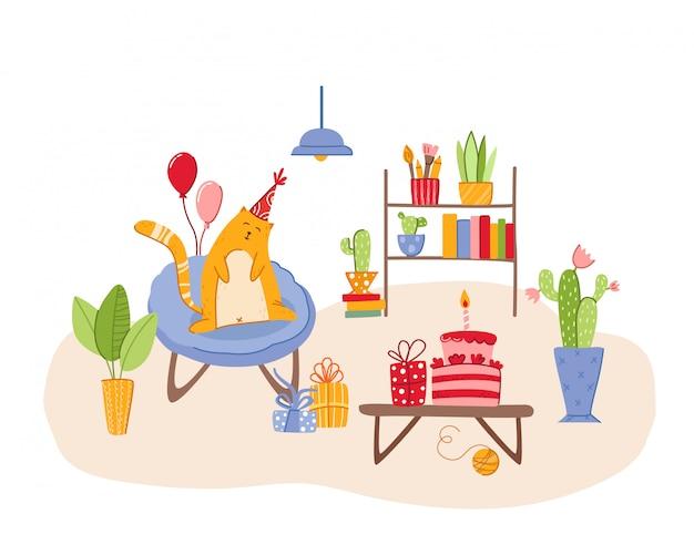 Koncepcja urodzinowa dla zwierząt czerwony kot w świątecznym kapeluszu na fotelu w przytulnym pokoju z dekoracjami świątecznymi -