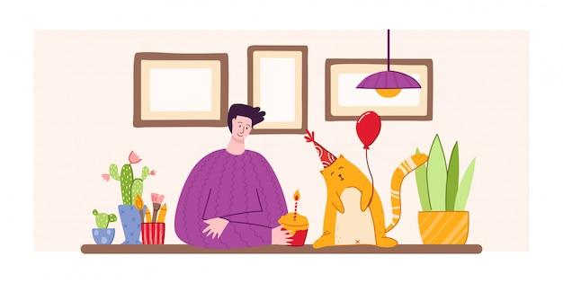 Koncepcja urodzinowa dla zwierząt domowych - czerwony kot w świątecznym kapeluszu z balonem i ludzie w przytulnym pokoju z wakacyjnymi dekoracjami