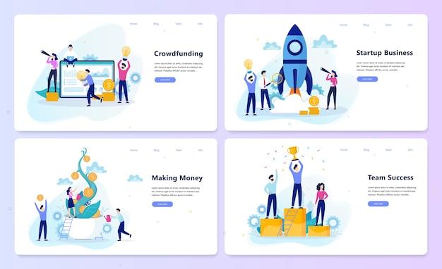 Koncepcja uruchamiania i pracy zespołowej. kampania crowdfundingowa, zysk biznesowy