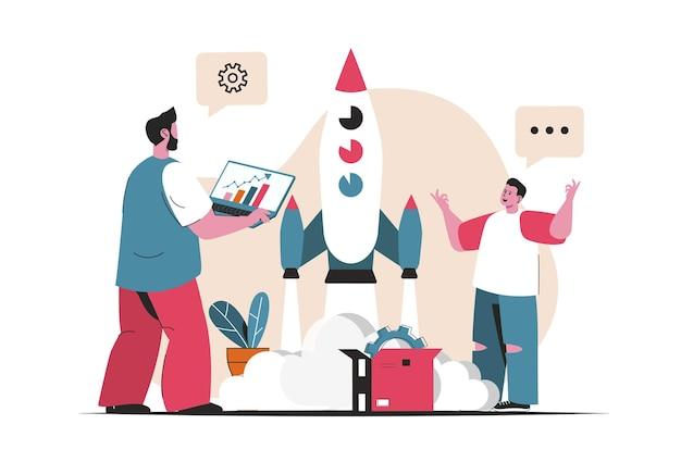 Koncepcja uruchomienia biznesu na białym tle. rozpoczęcie nowego projektu, tworzenie i rozwój. scena ludzi w płaskiej konstrukcji kreskówki. ilustracja wektorowa do blogowania, strony internetowej, aplikacji mobilnej, materiałów promocyjnych.