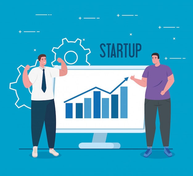 Koncepcja uruchomienia firmy, baner, proces uruchamiania obiektu biznesowego, biznesmeni i komputer z grafiką