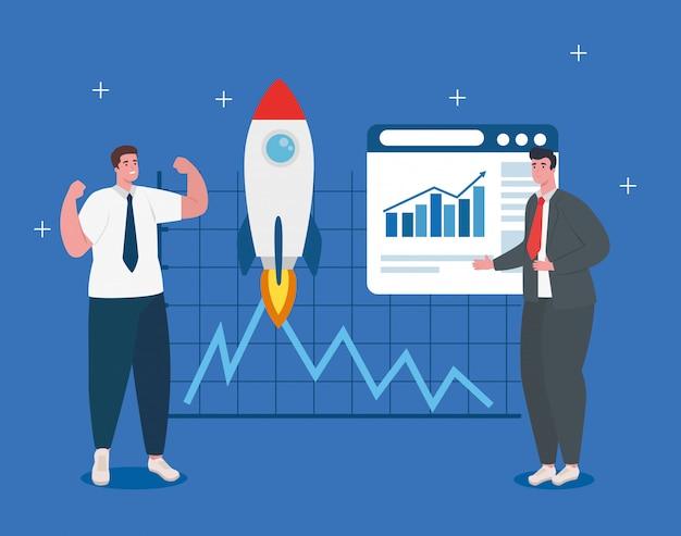 Koncepcja uruchomienia firmy, baner, proces uruchamiania obiektu biznesowego, biznesmeni z rakietą i stroną internetową